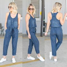 "60dc3e87ba54 Dawn and Rae Boutique on Instagram  ""Currently loving how cozy our midnight  wash jumpsuit is  62 + ships free 🤩💙 ootd  wiwt  favorite  jumper ..."