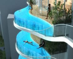 Glass Balcony Pools for Indian Luxury Condo Building - This the Bandra Ohm, a skyscraper designed by James Law Cybertecture to be built in India. Each residential unit features a glass-walled pool for a balcony. Glass Balcony, Glass Pool, Glass Bottom Pool, Plexi Glass, Apartment Complexes, Luxury Condo, Luxury Apartments, Luxury Pools, Cool Pools