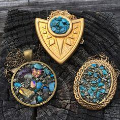 Small Power Medallion Mixed Gemstone Necklace by Nina Mantra