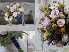 Ramo de novia silvestre en rosa suave y amarillo. Mayula Flores