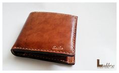 Hand stitched 2 fold wallet with coin pocket by ladderleather, $110.00-SR