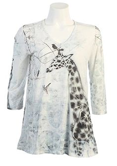 Zoe Fashion Ladies Dressy Printed Rhinestone V-neck 3/4 Sleeve Tee Shirt Top (X-Large, Brown Giraffe) – Friendly Faces