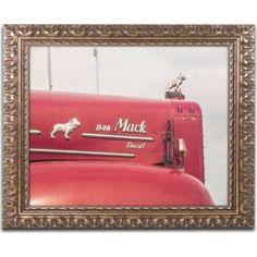 Trademark Fine Art Mack Truck 2 inch Canvas Art by Jason Shaffer, Gold Ornate Frame, Size: 16 x 20, Assorted