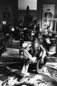 1977 - YSL in his apartment by Andre Perlstein