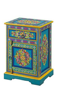 Hand-painted Indian bedside cabinet.