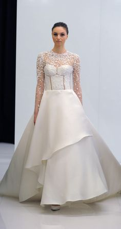 Ballgown with long sleeves and beading embellishments | Angel Sanchez Spring 2017 | https://www.theknot.com/content/angel-sanchez-wedding-dresses-bridal-fashion-week-spring-2017