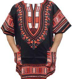 744bffef764df Mexican Dashiki Shirts African Mens Party Unisex 70s Hippie T-Shirt Top  BlackRed #Handmade