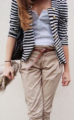 Striped Blazer/Sweater/Jacket + White Shirt + Khaki Pants + Belt