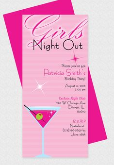 Martin Glass Girls Night Out Invitation. Perfect for birthday parties or bridal…