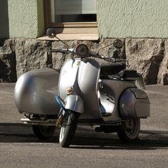 Vespa with sidecar in Helsinki.