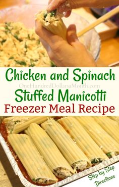Freezer Meal - Chicken and Spinach Stuffed Manicotti - One Hundred Dollars a Month - Freezer Meal Recipes, Chicken and Spinach Stuffed Manicotti, Chicken Freezer Meals, Healthy Freezer Meals, Meal Prep Chicken Freezer Meals, Freezable Meals, Budget Freezer Meals, Freezer Friendly Meals, Make Ahead Freezer Meals, Cooking On A Budget, Chicken Recipes, Freezer Cooking, Healthy Meals