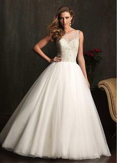 ELEGANT TULLE ORGANZA SATIN BATEAU NECKLINE BALL GOWN WEDDING DRESS WITH BEADINGS SEXY LADY LACE FORMAL PROM