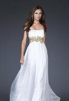 Fashion Chiffon Sheath White Sleeveless Tube Evening Dresses momodresses25896