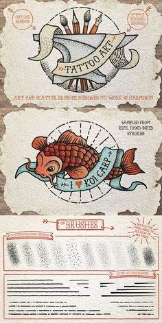 Tattoo Style Art Brushes by Create beautiful tattoo inspired art with these stipple shading and outline brushes! I created the two very different sets of bru Graphic Design Tutorials, Graphic Design Inspiration, Art Tutorials, Gfx Design, Design Art, Artwork Design, Vector Design, Layout Design, Design Elements