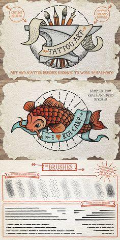 Tattoo Style Art Brushes for Adobe Illustrator - Download: http://graphicriver.net/item/tattoo-style-art-brushes/14395923?ref=ksioks