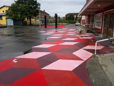 street art on the path Colour Architecture, Landscape Architecture, Urban Landscape, Landscape Design, Pavement Design, Art Public, Paving Pattern, Paving Design, Urban Intervention