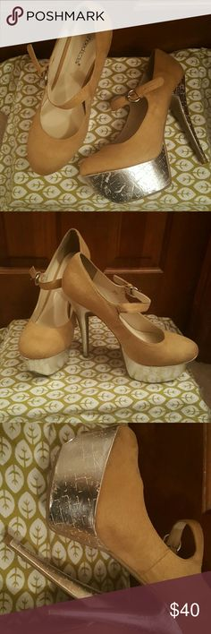 Holiday party heels! Size 11 beige and silver bottom heels Shoes Heels