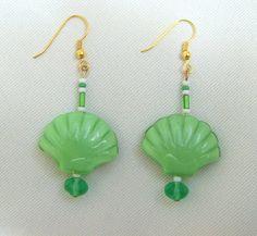 Green Shell Earrings/Gold and Green Shell by LittleGemsandMore, $10.00