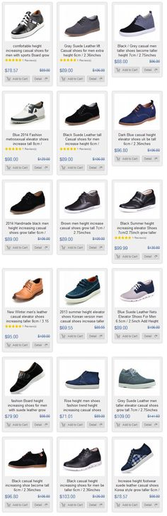 Comfortable tall shoes for men increase
