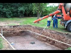 How to excavate and construct your own outdoor swimming pool. Instructions and  guidance for the construction of the pool. Costings and timings discussed in the notes.   All equipment shown, further details given on request.