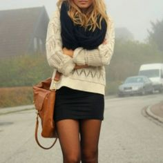 Black tights, black mini, winter sweater.