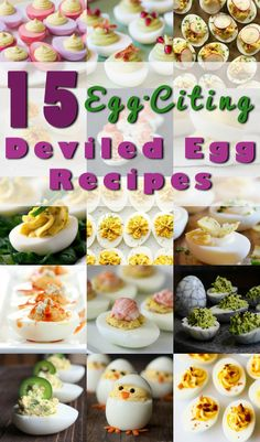 15 Deviled Egg Recipes for Spring! These Egg-Citing deviled eggs are the cream of the crop, so to speak. Each deviled egg recipe is packed with punch and