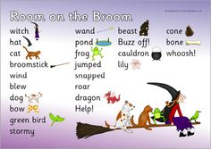 A simple printable word mat featuring words and pictures from the popular story of Room on the Broom. Print out for children to use as a reference tool on their desktops. Fall Preschool Activities, Halloween Activities, Classroom Activities, Book Activities, Julia Donaldson Books, Story Sack, Room On The Broom, Rhyming Words, Author Studies