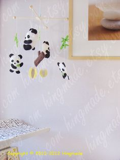Baby Mobile  Panda Mobile  Happy Baby Panda Bear by hingmade, $89.00