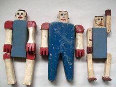 Antique Folk Art Sculpture Trio of Patriotic Articulated Figures Collection Jim Linderman Dull Tool Dim Bulb