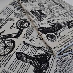 """Tissu retro vintaige """"noir et blanc"""" imprimé journal coton"""
