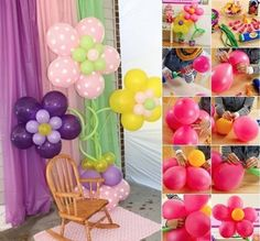 DIY Make Balloon Flower Decorations for Birthday or any Parties. Flowers out of balloons are a regular thing to see at carefully thought events. They are so easy to make, a kid can pitch in to help with the preparations. Birthday Balloon Decorations, Balloon Crafts, Flower Decorations, Decoration Crafts, Balloon Centerpieces, Ballon Party, Deco Ballon, Easy Crafts, Crafts For Kids