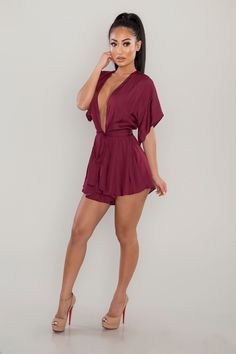 A sleek woven romper featuring a plunging V-shaped neckline, short sleeves, self-tie waist, and and flowy silhouette. Effortlessly cute, this breezy one-piece is a total warm-weather must-have. Warm Weather, My Girl, Must Haves, Burgundy, Short Sleeves, Rompers, One Piece, Cute, Color