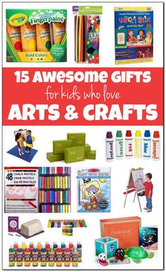 15 of the best arts and crafts gifts for kids. Great gift ideas for kids who love to draw, color, paint, and sculpt. On this list you'll find awesome gift ideas for budding artists of all ages. Cool Gifts For Kids, Fun Crafts For Kids, Baby Crafts, Gifts For Girls, Art For Kids, Arts And Crafts, Awesome Gifts, Craft Gifts, Diy Gifts