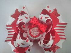 Valentine Day Boutique Hair Bow, Girls Hairbow, Red Hair Bow, Stacked Hairbow by JazzyandSassyDesigns on Etsy