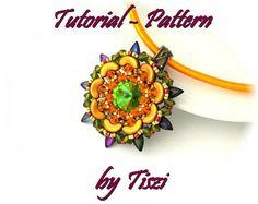 Beading pattern tutorial of beaded pendant Zara by Tiszi on Etsy
