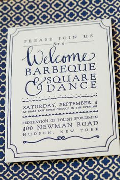 What a great invitation. Love the calligraphy mixed with the serif typeface. And, such a sucker for blue. { via paperfinger }.