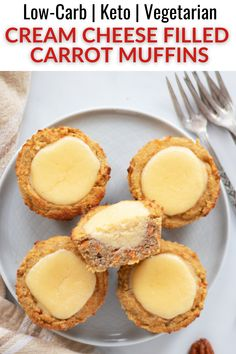 These keto carrot cake muffins with cream cheese filling are so indulgent! They combine the flavors of spice cake with rich cheesecake for a delicious and guilt-free treat! Low Carb Desserts, Low Carb Recipes, Snack Recipes, Dessert Recipes, Muffin Recipes, Carrot Cake Muffins, Gluten Free Treats, Cream Cheese Filling, Spice Cake