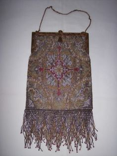 ANTIQUE CUT STEEL FRINGED BEADED PURSE HAND MADE PARIS FRANCE METRO BAG WORKS