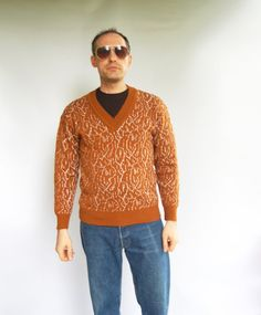 Vintage 1980s Camel Brown White Geometric Print Mens Unisex V neck Pullover / Cardigan Sweater Clothing M S Hipster clothing Preppy Slim Fit