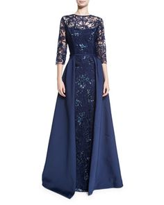 Rickie Freeman For Teri Jon Embellished Floral Tulle Ball Gown, Navy - ShopStyle Evening Dresses Blue Sequin Dress, Navy Floral Dress, Floral Gown, Sequin Gown, Lace Dress, Floral Dresses, Navy Blue Evening Gown, Floral Evening Gown, Sequin Evening Gowns