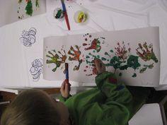 creating a handprint dragon