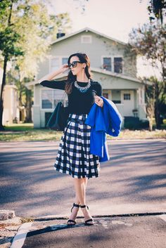 | OUTFIT DETAILS | J.Crew Tippi Sweater*up to 30% off with code MERRYMERRY| Chicwish Gingham Belted Midi Skirt c/o *up to 40% off| Forever21 Blue Overcoat, sold out [similar*40% off with code FESTIVE| similar*30% off with code spend50|similar| love this blue faux leather jacket| mint long overcoat] | Steve Madden Heels, old [similar*only $80! | similar] | Baublebar Heartbreaker Bibc/o *30%off with code INSTAGLAM| Tory Burch Thea Shoulder Tote | Prada 'Triangle Logo' 53...