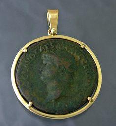 Ancient Roman Nero Coin 14k Gold Pendant