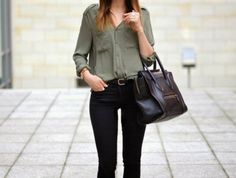 What to Wear This Weekend: Military Shirt, Skinny Jeans, Ankle Boots High Street Fashion, Street Style, Street Chic, Street Wear, Love Fashion, Winter Fashion, Womens Fashion, Net Fashion, Fashion Styles