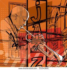 Jazz trumpet player - Vector illustration - stock vector