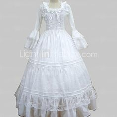 One-Piece/Dress Sweet Lolita Princess Cosplay Lolita Dress White Lace Long Sleeve Floor-length Dress For Women Cotton - USD $62.99 ! HOT Product! A hot product at an incredible low price is now on sale! Come check it out along with other items like this. Get great discounts, earn Rewards and much more each time you shop with us!