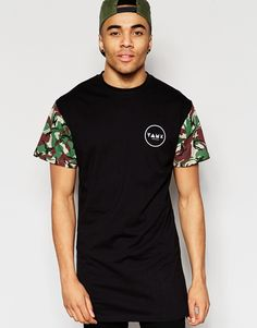 Friend+or+Faux+Longline+T-Shirt+Camo+Sleeve+Black