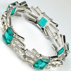 "Trifari 'Alfred Philippe' ""Emerald"" and Diamante Starburst Baguettes Five Element Bracelet, mid 1950's"