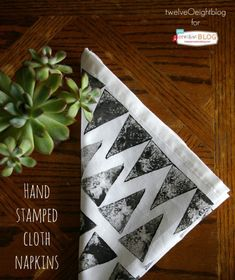 Hand Stamped Cloth Napkins   by TwelveOeightBlog for TodaysCreativeBlog.net