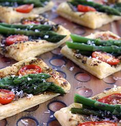 Asparagus and Parmigiano Puffs  looks easy, can make prep ahead of time, and assemble/bake quickly at start of party